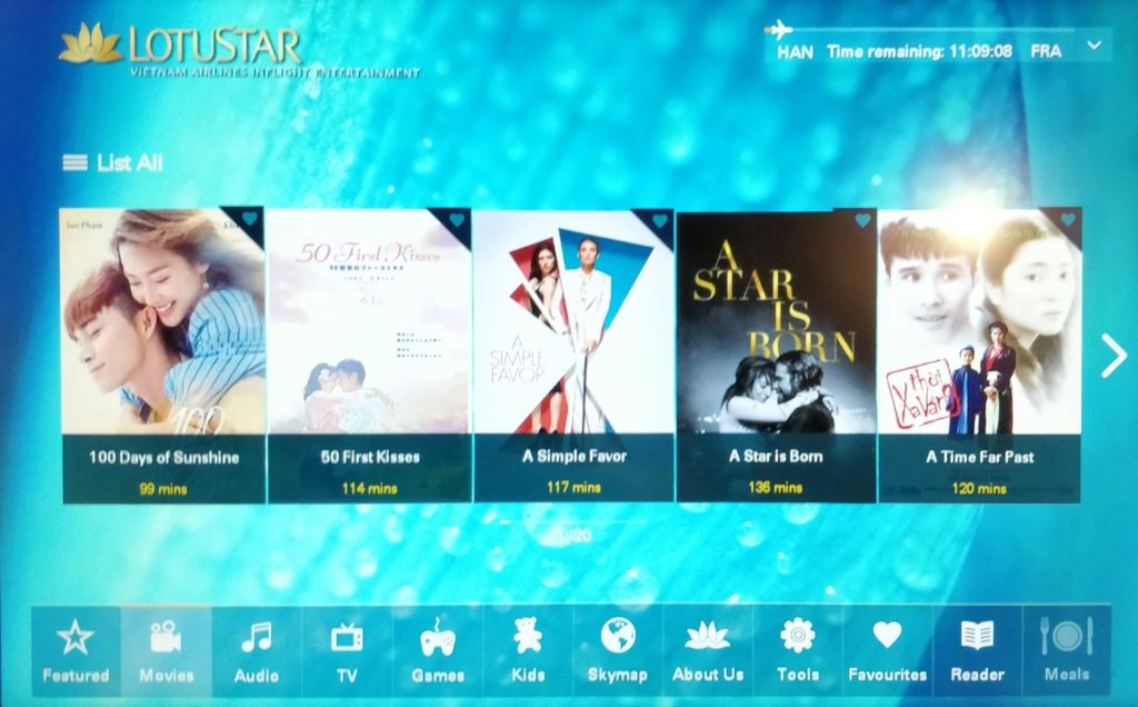 Vietnam Airlines Boeing 787 Business Class Entertainment