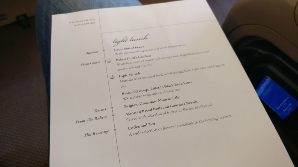 Singapore Airlines Business Class Airbus A330 Menu